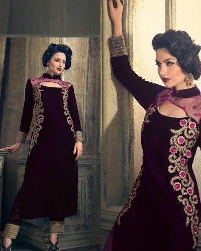 Magnificent Purple Velvet Mumtaz Mohini Designer Suit