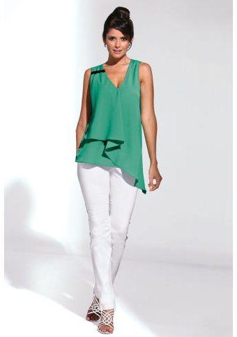 Kalhoty s vysokým pasem #ModinoCZ #white #whitefashion #trendy #summerfashion #style #bila #moda #whitesummer