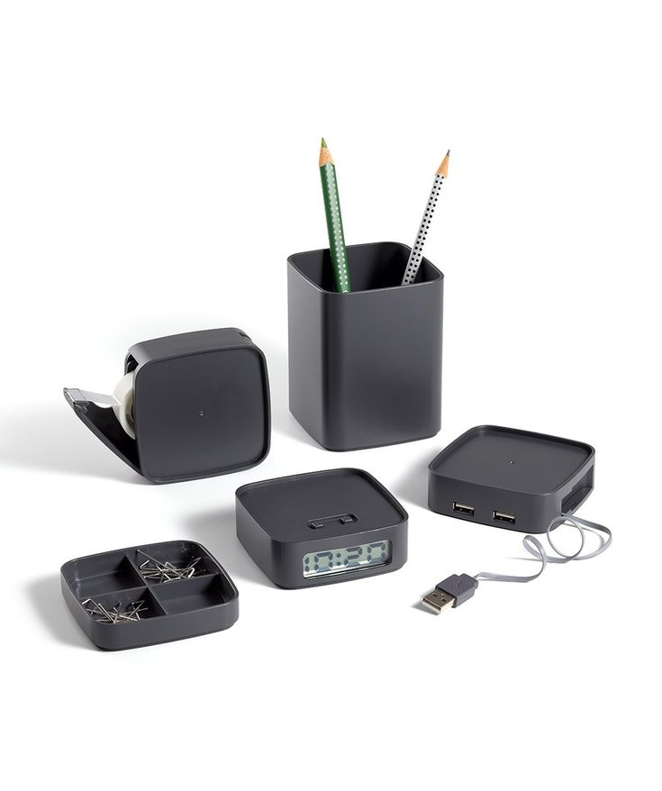 The Lexon Mini Totem is perfect for the office, with its multi-purpose design. This stackable office set includes a pen cup, storage for paper clips, a clock, a tape dispenser and a 4 x USB plug hub. | huntingforgeorge.com