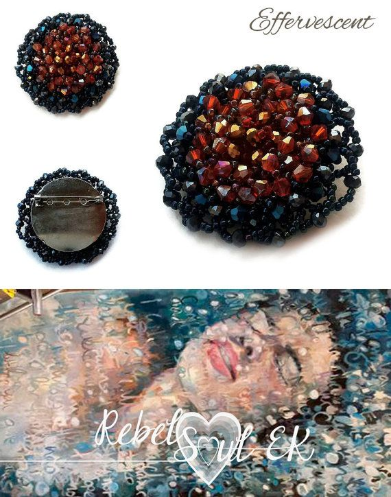 handmade blue brooch crystal brooch seed bead pin by RebelSoulEK