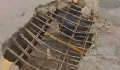 ROADS/BRIDGES: Overpass crumbles onto I-75 median in Bay County, Mich. #construction