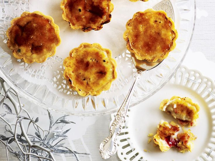 Bite-sized tarts with a vanilla and raspberry crème brûlée filling and a crispy toffee topping make an elegant dessert or afternoon tea.