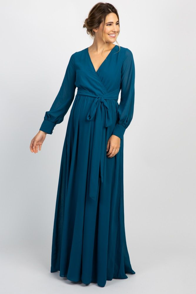 d9a59dc0f7a3 Navy Chiffon Long Sleeve Pleated Maternity Maxi Dress | CLOTHING in ...