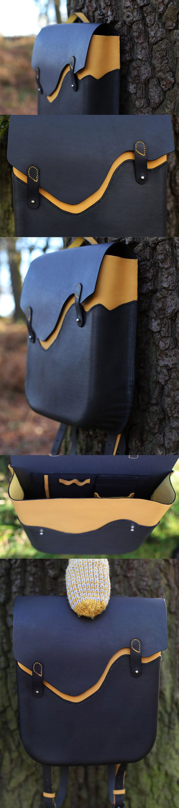 Custom Made Thick Genuine Italian Leather Backpack. Yellow/Grey, Hand Stitched/Wet Moulded 100% Handmade @castaner