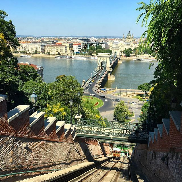 Budapest view from the funicular going up towards Buda Castle #budapest #travelbudapest #city #funicular #danuberiverview #traveltheworld #budacastle #budahill