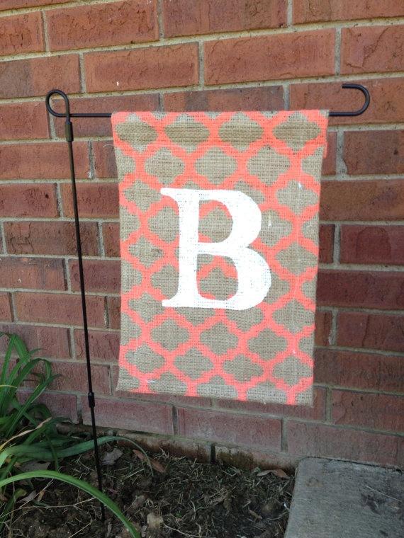 Attractive Custom Burlap Monogram Garden Flag