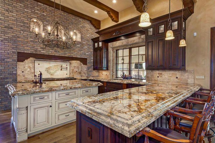 Mediterranean Kitchen With Caravelas Gold Granite