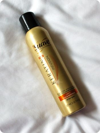 Suave Dry Shampoo-  best ever! Great scent and it doesn't have a heavy build up feel (I use it several days in a row).