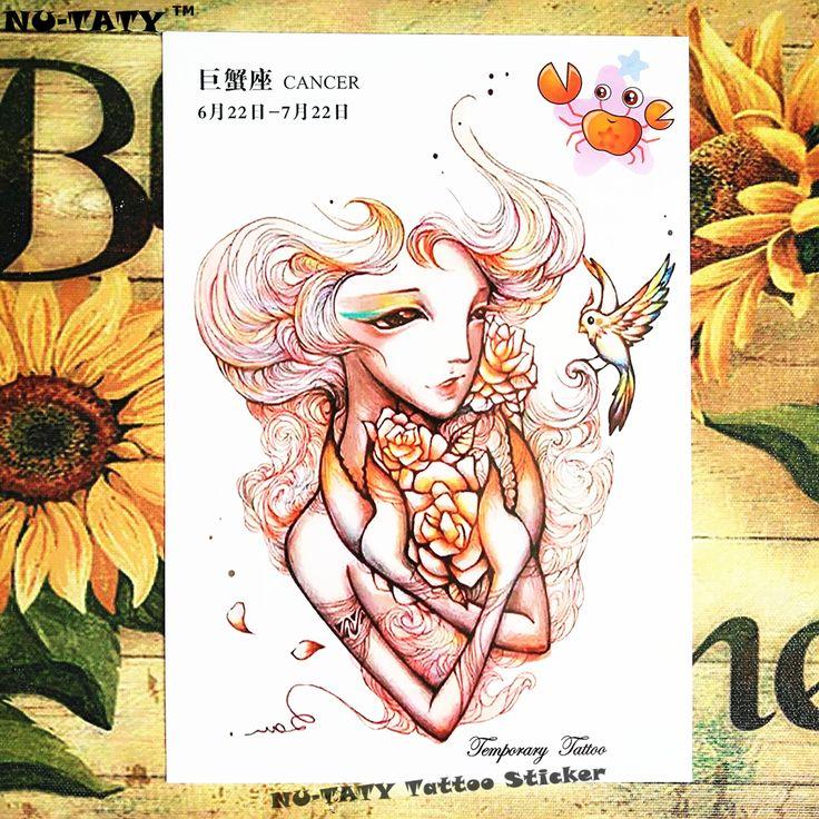 Nu-TATY Cancer New Designs 12 Zodiac Temporary Body Art, Flash Tattoo Stickers 21*15cm Waterproof Summer Henna Tato Sex Products #Affiliate
