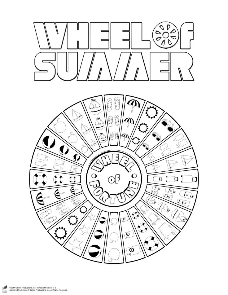 Wheel Of Summer Coloring Page Summertime Is Full Of Color Add Your Own Personal Touch To Our Special Coloring Pages Summer Coloring Pages Wheel Of Fortune