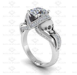 Show details for 'Aphrodite' 3.25ct White Diamond Skull White Gold Engagement Ring