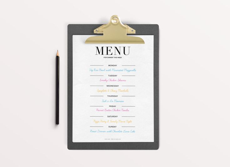 The 25+ best Weekly menu template ideas on Pinterest Menu - menu for the week template