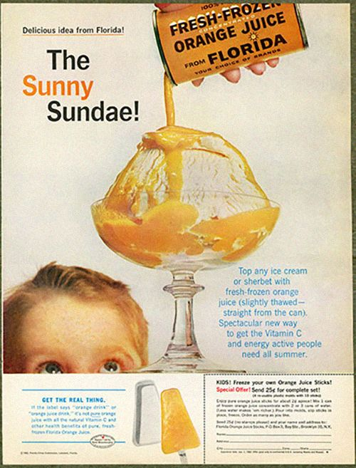 Don't believe us? It even goes with orange juice. | 15 vintage ice cream ads that will have you hungering for summer