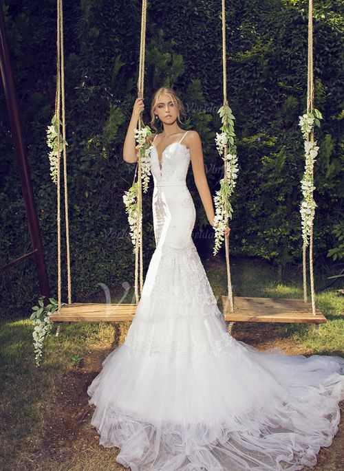 Wedding Dresses - $215.14 - Trumpet/Mermaid Sweetheart Chapel Train Tulle Lace Wedding Dress With Beading (0025057956)
