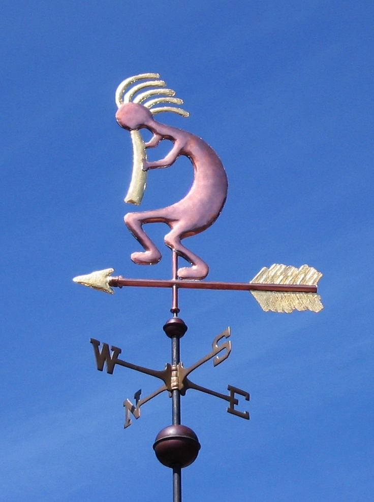 Kokopelli Weathervane. Copper with gold leafed accents.