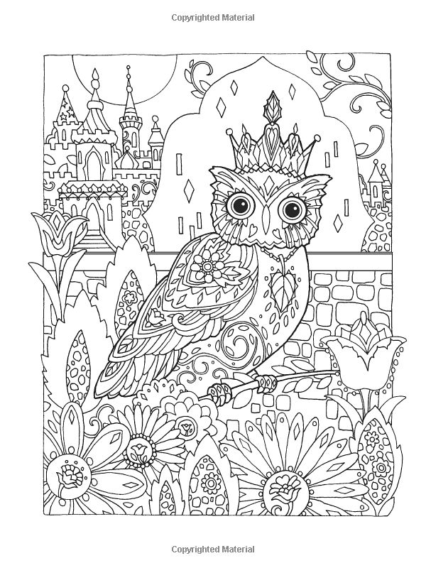 Creative Haven Owls Coloring Book artwork by Marjorie Sarnat: