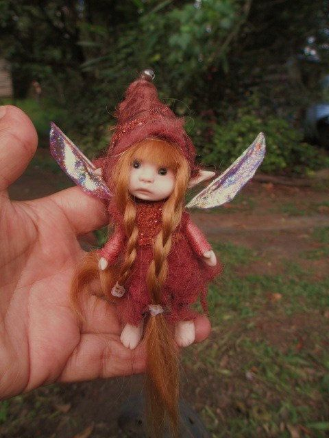 sweet tiny ooak posable 4.5  inch fairy by throughthemagicdoor, $98.00