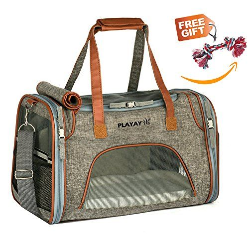 "Premium Airline Approved Soft Sided Pet Carrier, Low Profile Luxury Travel Bag with Fleece Bedding & Safety Lock, Under Seat Compatibility, Perfect for Cats and Small Dogs - AIRLINE APPROVED PET CARRIER 18"" Length x 10.5"" Width x 11"" Height - Please consider your pets sizing needs. Recommended For Pets Up to 14lbs * Designed with Ventilated Top & Sides, meets all airline requirements of under forward seat Our luxury tote is designed with high quality durable material..."