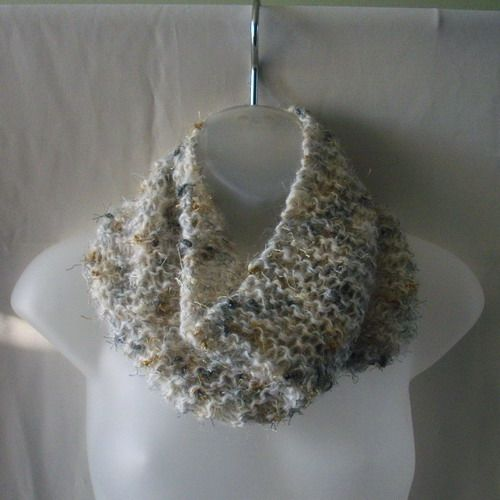 Handknit wool blend cowl neckwarmer with gold, silver and pewter threa