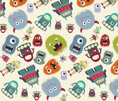 Funky Monsters and Robots fabric by dogsndubs on Spoonflower - custom fabric