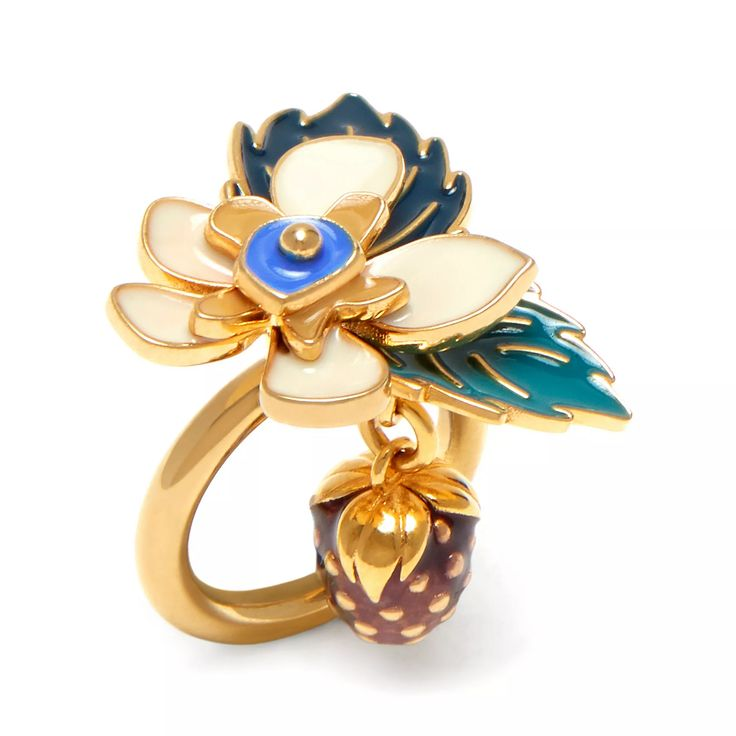 Shop the Mulberry Flower Ring in Soft Gold Brass Enamel at Mulberry.com. A dramatic 3-D brass and enamel floral design inspired by the flowers that grow on Mulberry trees.