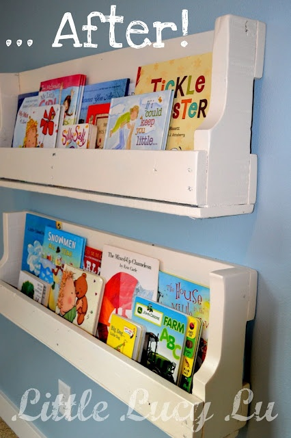 Little Lucy Lu: From Pallet .... to Bookshelves!: Idea, Books Shelves, Pallets Shelves, Wooden Pallets, Book Shelves, Wood Pallets, Pallets Bookshelves, Old Pallets, Kids Rooms