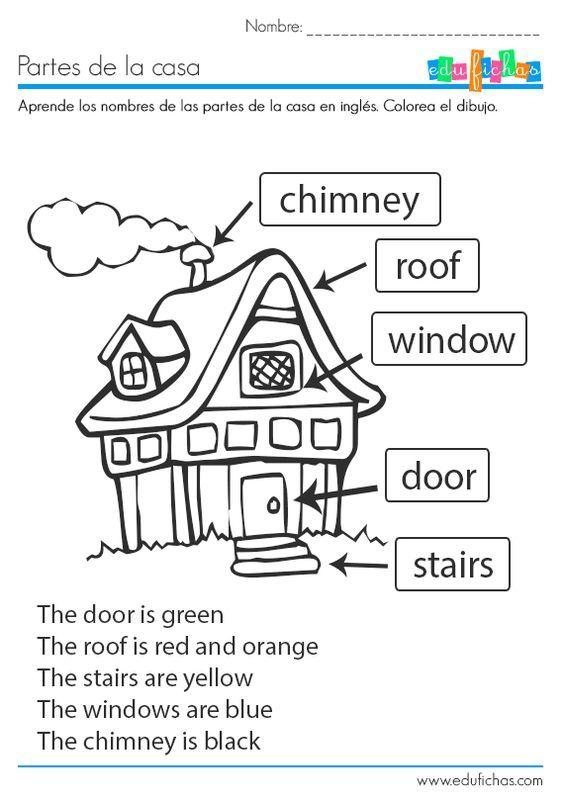 Ficha educativa coloreable para aprender las partes de la casa en inglés. Descarga nuestras fichas educativas gratis para casa o como recurso para el aula.  #ingles #casa #house #worksheet: