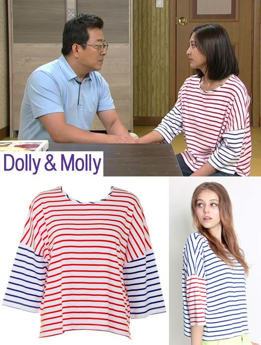 "Dolly & Molly In Drama ""Sincerity Moves Heaven""(지성이면 감천)  Actress Park Se-young(박세영) picked up the Bicolor Striped T-shirt is the Product of Dolly & Molly 