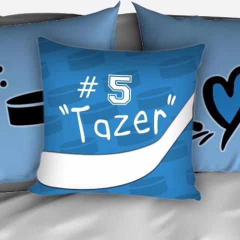 Personalized Hockey Bedding, Duvet or Comforter Sets, Hockey Themed Bedroom Baby Blue