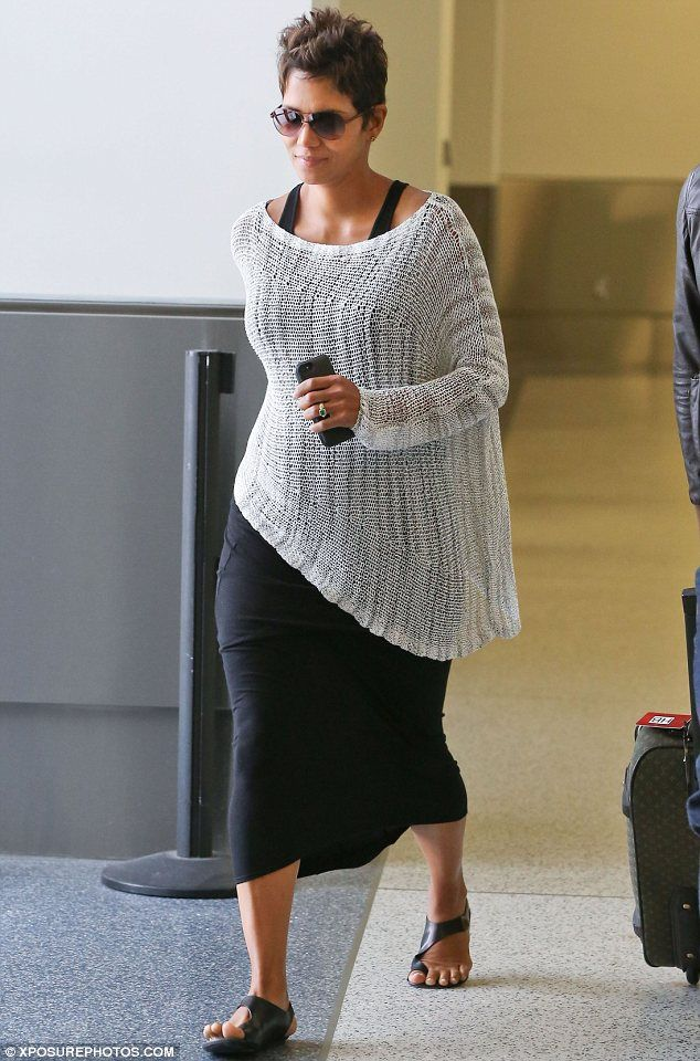 Jet setter: Halle Berry was seen arriving on a flight into Los Angeles from Vancouver on Saturday