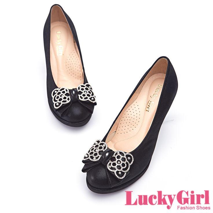 LuckyGirl-浪漫優雅~全真皮鏤空鑲鑽花邊蝴蝶結跟鞋-黑 - Yahoo!奇摩購物中心