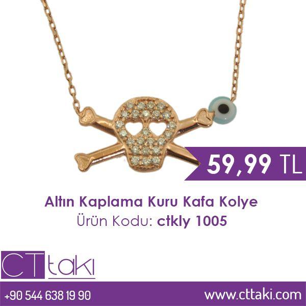 Altın Kaplama Kuru Kafa Göz Taşlı Kolye. 59,99 TL fiyatı ile CT Takı'da. #altın #göz #taş #kaplama #kuru #kafa #kolye #takı #fiyat #cttakı
