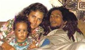 Bob Marley, Cindy Breakspear (Damian Marley's mom) and a young Damian Marley.