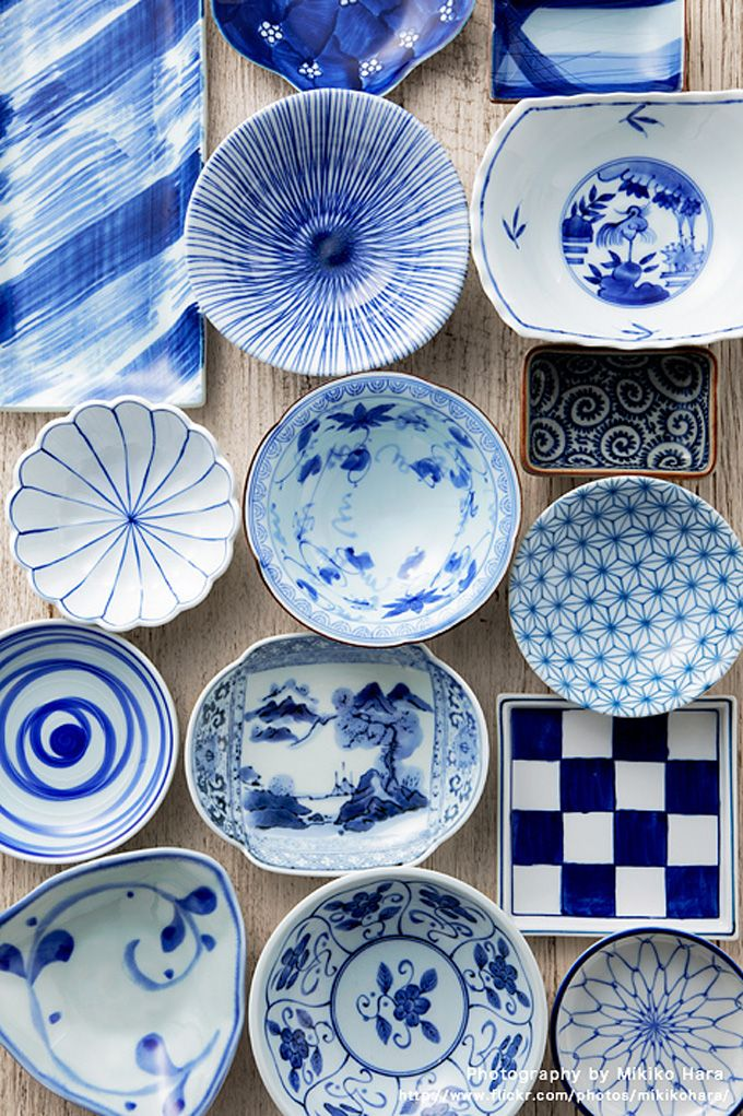 Japanese indigo tableware, pots, cups. so much cooler than the typical blue tableware in the US!!