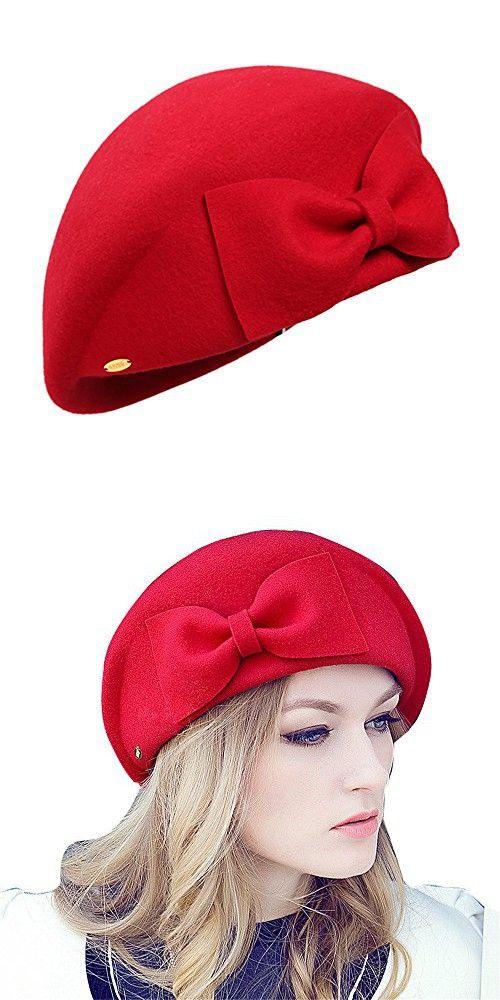 bdf6ffc883305 Women s 100% Australia Wool Beret Beanie Warm Wool Cap Hat with Bow (Red)