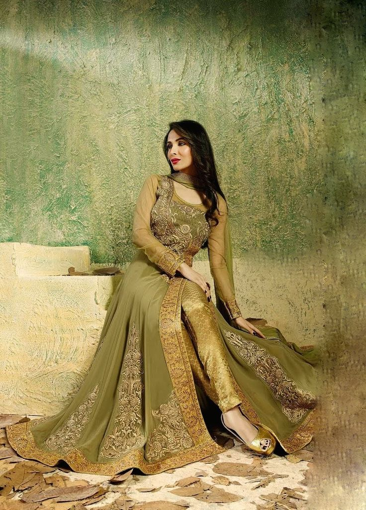 Malaika Green and Gold Pant Style Anarkali