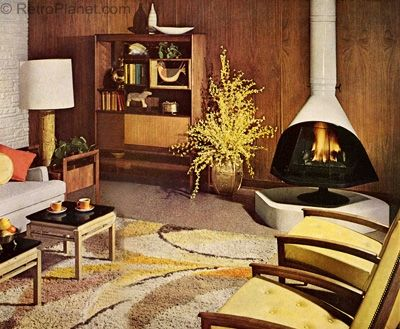 living room with free standing fireplace. Mid-Century Modern Interior Design, Vintage Architecture, Vintage Decor, Vintage Furniture