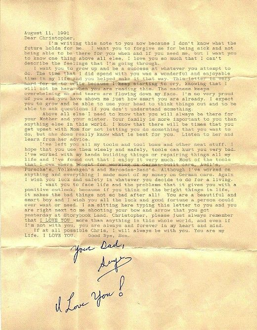 Christopher was just 3 years of age and largely oblivious to the impending tragedy when his dad wrote him the following heartbreaking farewell letter. The next year, in 1992, his father passed away after losing a battle with leukemia. He was 38-years-old.