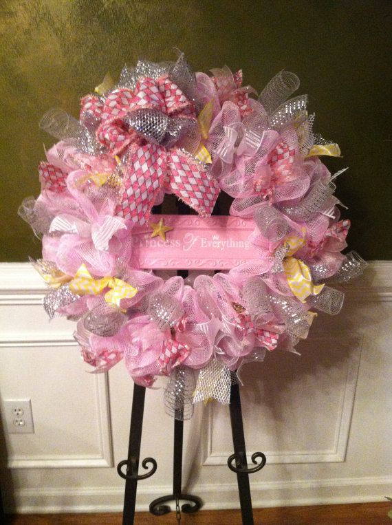 Large Mesh Wreath Baby Shower Hospital Door Baby Nursery Pink Gray White Yellow Girls Room Decor Princess Personalized Initial Wreath