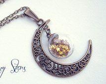 Maan Globe ketting. Glazen fles hanger maan ketting maan bronzen halsketting miniatuur fles glazen flacon hanger aangepaste Glitter sterren kleuren.