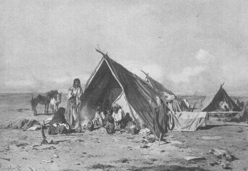 CIGÁNYTANYA. 1855 PETTENKOFEN ÁGOST VÍZFESTMÉNYE BÉCSI MŰVÉSZETTÖRT. GYŰJTEMÉNY