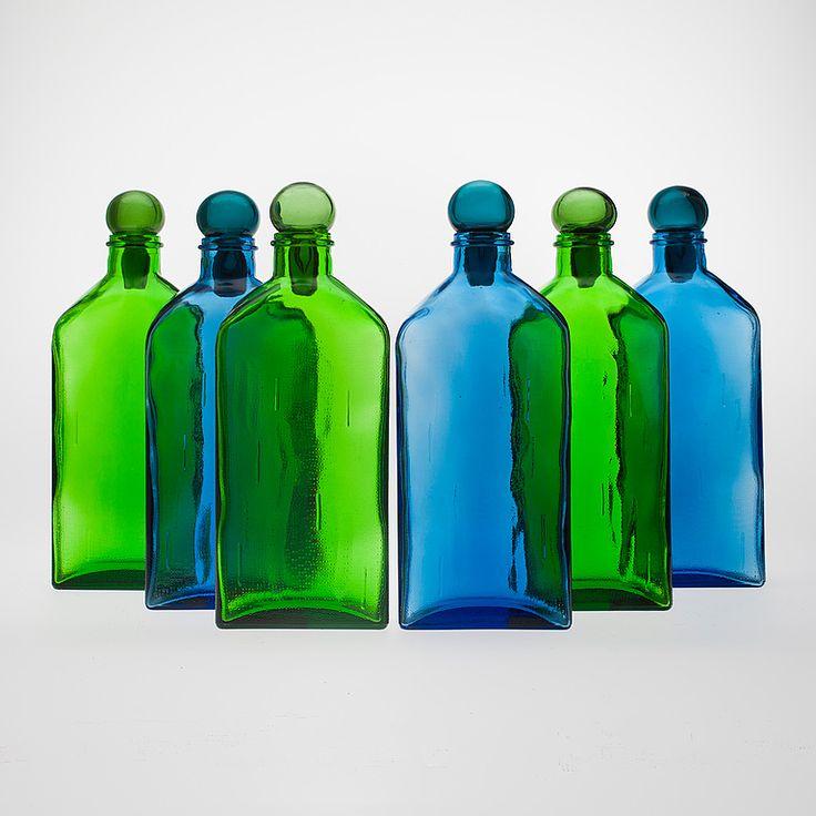 Helena Tynell; Glass 'Lankkupullo' Flasks for Riihimäen Lasi, 1970s.