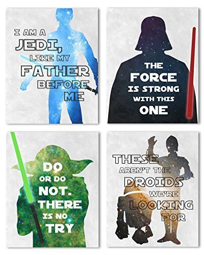 Star Wars, Set of Four 8x10 Nursery Prints - Perfect for Your Baby's Nursery Décor or Give It As a Gift At Your Next Baby Shower!