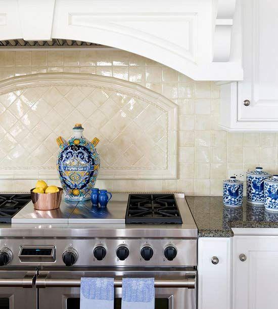 Kitchen backsplash ideas stove glazed tiles and cabinets for Country kitchen backsplash ideas