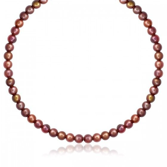 14K Yellow Gold Clasp Round Chocolate Pearl Necklace