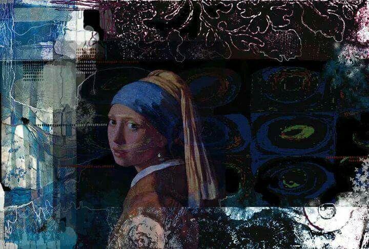 When u Yves kline meets vermeer.. Mixed media 2014