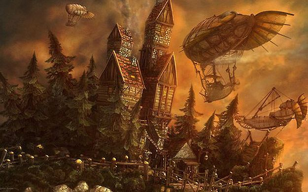 Airships, crooked house, fairytale steampunk