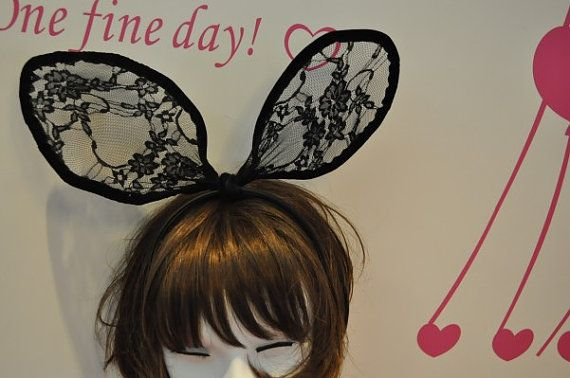 Hey, I found this really awesome Etsy listing at https://www.etsy.com/listing/188143638/black-bunny-ears-lolita-lace-headband