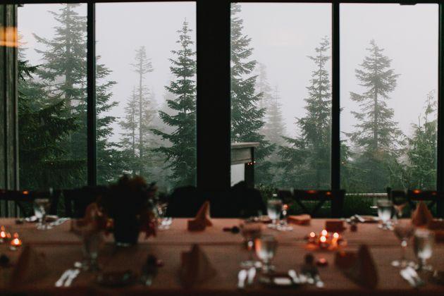 Grouse Mountain Wedding… gorgeous, gorgeous evergreen trees outside the Timber Room.