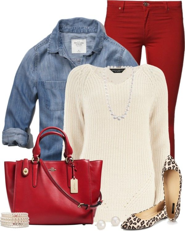Stitchfix* *red pant  Denim Shirt Layered Fall Outfit Outfitspedia